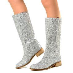 6b4ffd8352ad34 Stivali Camperos in Glitter Boots Donna Western Vintage Argento