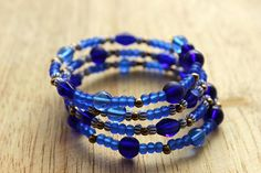 Boho blue glass bead memory wire bangle bracelet
