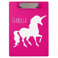 Custom clipboards and binders for office or school. Great gift for kids at school or home office. Light Up Unicorn, Purple Unicorn, Pink Purple, Hot Pink, Unique Gifts, Best Gifts, Cool Lunch Boxes, Clipboards, School Supplies
