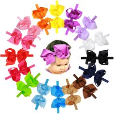16Pcs 6 inches Big Bows Baby Girls Toddlers Kids Teens Children Grosgrain Ribbon Hair Bows Soft Elastic Baby Headbands. Set of 16Pcs(16 colors) ,these baby headbands are Super cute and lovely , fashion design, good elasticity, soft material and beautiful colors and the baby girl headbands are elastic.Great for the price, super cute and cheap but high quality. Perfect fit for 0-12 years old newborn, babies, children and big girls, women , baby shower, birthday party and family photo. Bow...