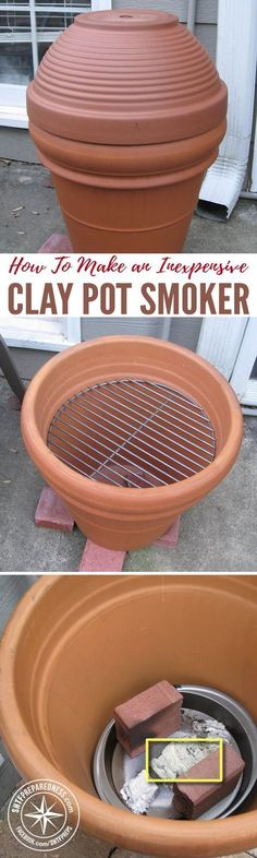 How To Make an Inexpensive Clay Pot Smoker — I love smoked meat! Any time of the year is a good time for smoked meat. However, I do not love how expensive smokers are. Luckily, there are tutorials out there that show you how to make a smoker of your ow Outdoor Projects, Home Projects, Projects To Try, Parrilla Exterior, Smoker Cooking, Stovetop Smoker, Clay Pots, Outdoor Cooking, Outdoor Oven