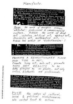 (Fluxus) Manifesto by Georges Maciunas, Festum Fluxorum Fluxus, Düsseldorf, February 1963 Art Manifesto, Brand Manifesto, Design Manifesto, Page Design, Book Design, Cover Design, Brand Identity Design, Branding Design, Poema Visual