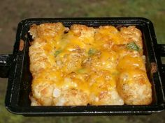 Pie Iron Cheesy Tots.  Tater tots, onion, peppers, garlic salt, salt, pepper, cook 4-5 mins.  Add cheese, cook until melted.  Could serve with an egg and bacon or sausage.