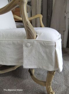 French Chair Canvas Slipcover Detail