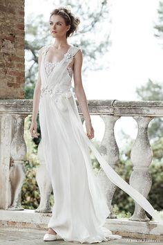 alberta ferretti bridal forever spring 2016 aurora sleeveless wedding dresse flower embellished straps