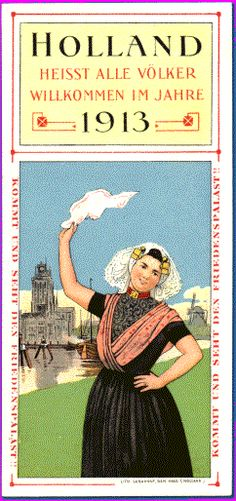 Art Nouveau♥ bookmark on the opening of the International Palace of Justice, The Haag, Holland, 1913.