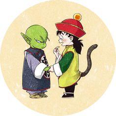 DENDE & KID GOHAN. Wait a sec, is this Piccolo as a kid? mmh, I guess so.