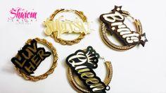 Custom name rope and cocoon hoop earrings on acrylic and wood.  www.shaiemjewelry.com
