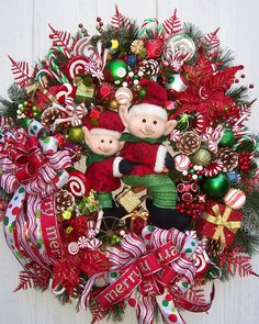 Christmas Wreath THE ELVES by UpTownOriginals on Etsy