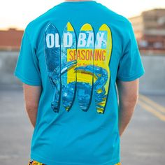 8d85fecb1 Old Bay and Crab Surfboards (Tropical Blue) / Shirt #Shirts-:-. Route One  Apparel