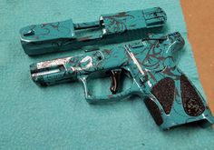 Sweet little 9mm we Hydro-dipped for a customer...teal base coat with a Paisley print #eastcoastcustomzny #eastcoastcustomzhydrographics #paisley #9mm #pistol #badass
