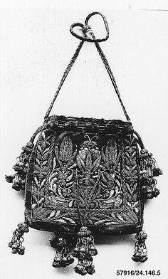 Bag Date: 17th century Culture: Italian Medium: Silk and metal thread on silk Accession Number: 24.146.5