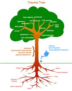 Trauma Tree - this is a good graphic of how symptoms can grow from trauma and ignoring the issues. With good therapy, coping skills and support these symptoms can be more controllable