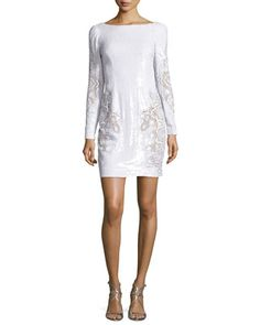 Long-Sleeve+Sequined+Lace+Cocktail+Dress,+White+by+Zuhair+Murad+at+Neiman+Marcus.