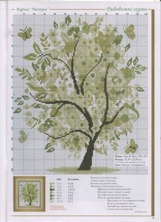 Green tree cross stitch