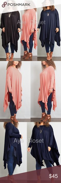 Plus size oversized tunic shark hem cape style top New Plus size oversized, loose fit shark bite cape style tunic top. 3 colors to choose from, black,indigo or Marsala. Super soft and comfy . Super Stretchy fabric. Long sleeves. ⭕️high/Deep side sit . Asymmetrical shark bite hem hi low hem top.Fabric Content: Rayon +spandex  ‼price is firm unless bundle ‼ Tops Tees - Long Sleeve