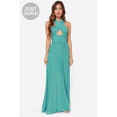 Tricks of the Trade Light Sage Maxi Dress ($73) via Polyvore featuring dresses, green, long blue dress, green strapless dress, green maxi dress, strapless maxi dress and blue maxi dress
