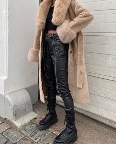 Black Leather Boots, Leather Pants, Long Beige Coat, Trendy Outfits, Fashion Outfits, Slim Pants, Aesthetic Clothes, Dress To Impress, Winter Fashion