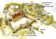 Guedelon plan 2013 Fantasy Castle, Fantasy House, Fantasy Map, Fantasy World, Castle Wall, Lego Castle, Chateau Medieval, Medieval Castle, Dungeon Maps