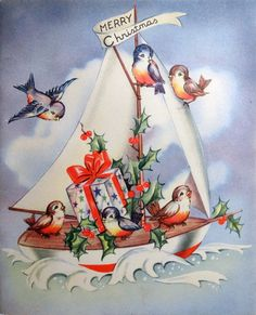 vintage Christmas card birds & sailboat