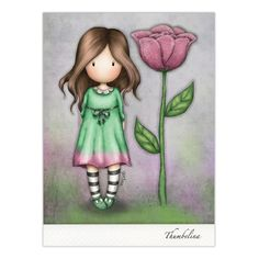 Gorjuss Thumbelina Greeting Card A beautiful art card featuring a lovely Gorjuss Girl, this card is perfect for all occasions. Santoro London, Cross Stitch Pictures, Little Doll, Cute Cartoon Wallpapers, Cute Dolls, Illustrations, Flower Cards, Cute Drawings, Cute Art