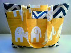 Diaper bag Set Chevron and Elephanst Diaper Bag by BarnofColors, $78.00
