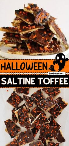 No tricking! Just treats. This Halloween Saltine Toffee is a classic Halloween treat that you can customize based on any type of holiday. It's the perfect Halloween dessert for kids! Halloween Desserts, Halloween Treats, Saltine Toffee, Candy, Chocolate, Meat, Canning, Holiday, Recipes