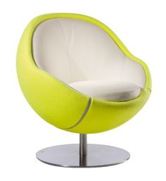 Sporty chair with futuristic ball shape : What tennis fan wouldn't love to have this awesome chair in his/her living-room ?