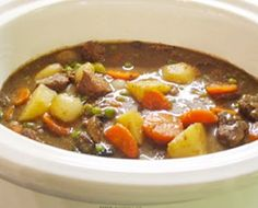 Crock-Pot Beef Stew from New Nostalgia ~ beef stew meat, flour, salt, black pepper, minced garlic, bay leaf, paprika, Worcestershire sauce, onion, beef broth,  potatoes, carrots, celery    I made this with a wheat/gluten free flour and it was very, very good.