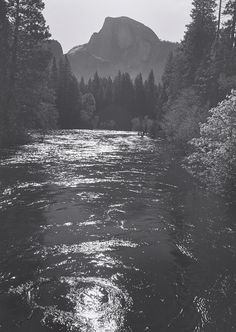 Half Dome, Merced River, Yosemite Valley By Ansel Adams