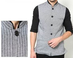 Even is noted for its finest quality craftsmanship that comes in vivid style. This Grey coloured Nehruvian Jacket defines manly charm with a distinct personality. Enhance your personality by styling it with Kurta, shirt and trendy pants which ensures compliments. Grey coloured Nehruvian Jacket accentuates Indian Ethnic Look thereby highlights your exquisite sartorial sense. Perfect for social gathering, wedding gala and traditional functions.