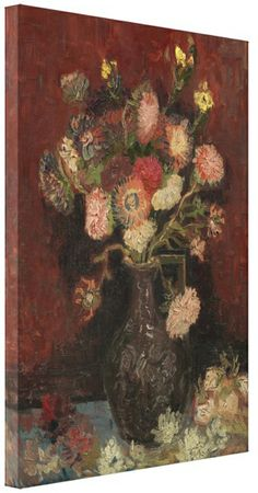 FLORAL CANVAS ART PAINTING BROWN VAN GOGH  framed A1