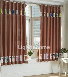 Kids Favorite Chololate Pony Curtains of Short Style