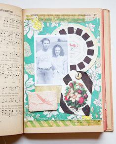 Love this idea of making photo album using an old book. Mini Scrapbook Albums, Scrapbook Paper, Mini Albums, Journal Paper, Junk Journal, Art Journals, Make A Photo Album, Art Journal Inspiration, Journal Ideas
