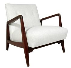 Mid-Century Modern Walnut Lounge Chair by Jens Risom   1stdibs.com