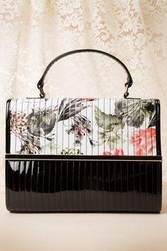 La Parisienne - 50s Chic Bloom Print Bag in Black
