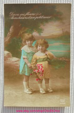 Vintage French Postcard - Cute Children with Flowers by ChicEtChoc on Etsy
