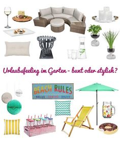 Meine Wunschliste für einen Urlaub im eigenen Garten... Wird es eher bunt oder doch lieber eine Loungelandschaft?? http://xn--grneliebe-r9a.de/urlaubsfeeling-im-garten/