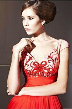 Romantic V-neck Sleeveless Tencel Evening Dresses - Red