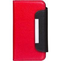 Plånboksfodral av äkta läder röd/svart Till iphone5