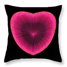 Throw pillow - Pink fractal heart with black background. All throw pillows are available in multiple sizes. (c) Matthias Hauser hauserfoto.com