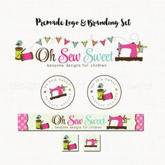 Sewing Logo Branding Kit Marketing Set For by stylemesweetdesign