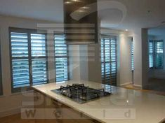 Shutter World is a provider of designer shutters for interiors and windows protection. Our craftsmen render installation for homeowners. Old Shutters Decor, Kitchen Shutters, Outdoor Shutters, Shutter Decor, Interior Window Shutters, Wooden Shutters, Interior Windows, House Without Shutters, House Shutters