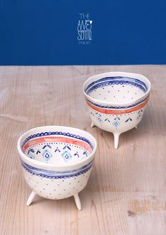 commissioned set of two porcelain cups