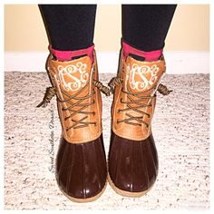 Monogrammed Duck Boots Several Colors by ASweetSouthernDrawl