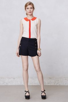 """Anthropologie: Tulip Sailor Shorts by Cartonnier, cotton & spandex, 4.5."""" So cute I can't pick one color."""