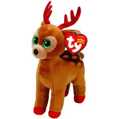 Tinsel the Christmas Reindeer Plush Regular Soft Stuffed 15cm With Heart Tag   TyBeanieBabies Cute Toys c534ce516efe