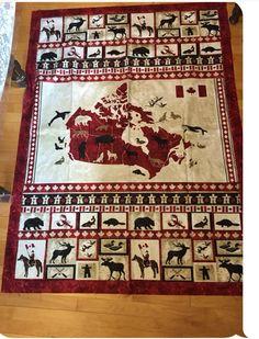 Canada 150 quilt top. Panel Quilts, Quilt Blocks, Canadian Quilts, Quilts Canada, Canada 150, Patriotic Quilts, Maple Leaves, Quilt Designs, Applique Quilts