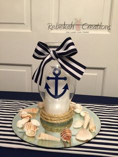 10 Nautical Wedding Candle Holders Anchor by RebekahCreations