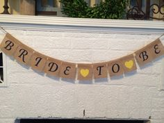 Bride to Be burlap banner Bridal shower banner by liddygoods